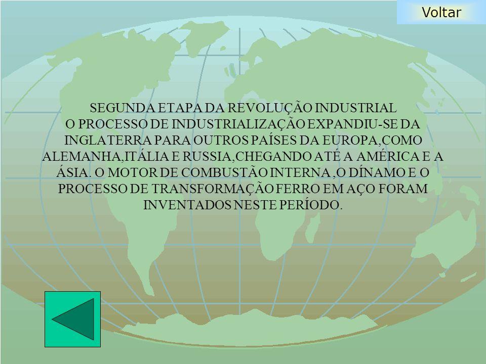 Voltar SEGUNDA ETAPA DA REVOLUÇÃO INDUSTRIAL O PROCESSO DE INDUSTRIALIZAÇÃO EXPANDIU-SE DA INGLATERRA PARA OUTROS PAÍSES DA EUROPA,COMO ALEMANHA,ITÁLI