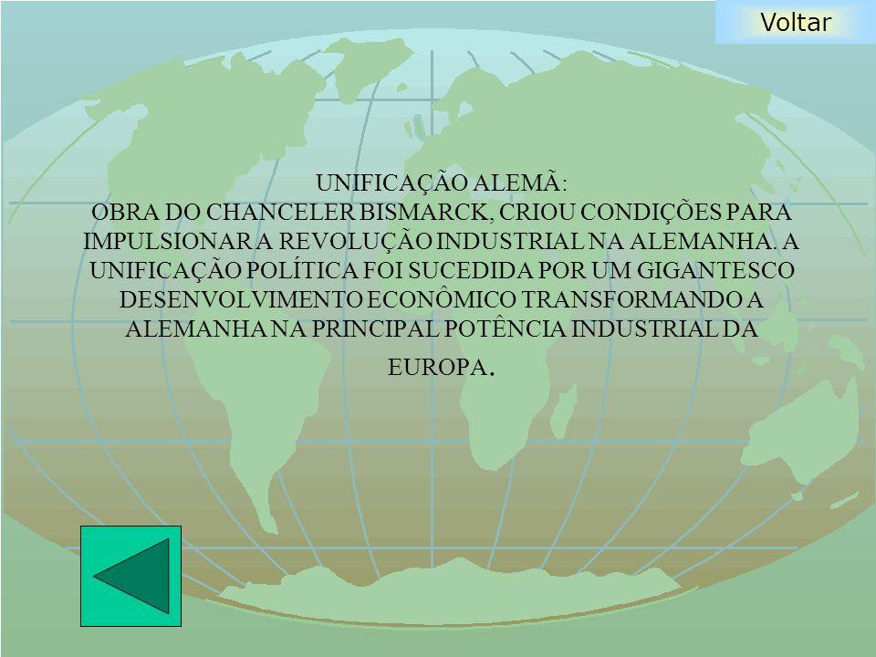 Voltar UNIFICAÇÃO ALEMÃ: OBRA DO CHANCELER BISMARCK, CRIOU CONDIÇÕES PARA IMPULSIONAR A REVOLUÇÃO INDUSTRIAL NA ALEMANHA. A UNIFICAÇÃO POLÍTICA FOI SU