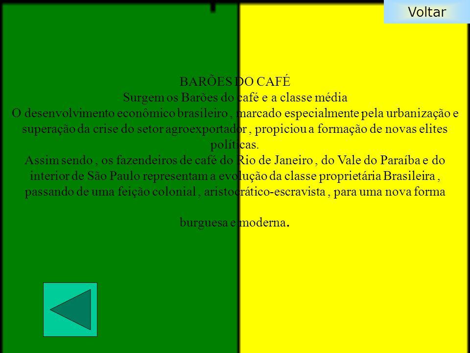 Voltar BARÕES DO CAFÉ Surgem os Barões do café e a classe média O desenvolvimento econômico brasileiro, marcado especialmente pela urbanização e super