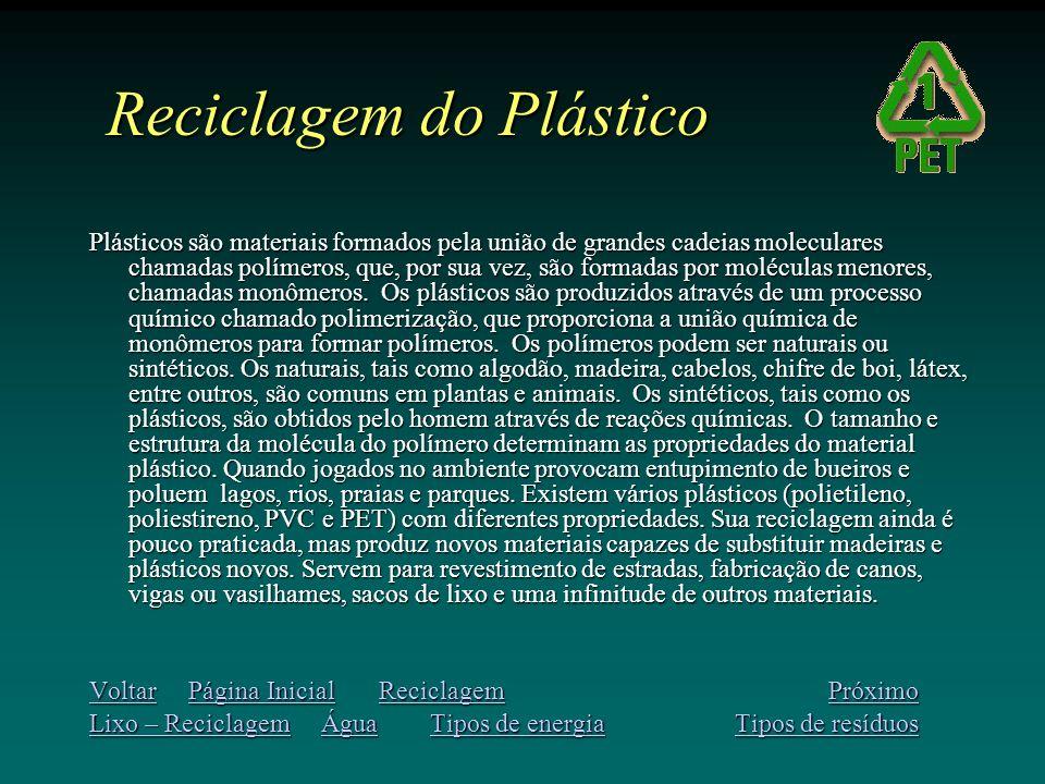 Reciclagem do Plástico Plásticos são materiais formados pela união de grandes cadeias moleculares chamadas polímeros, que, por sua vez, são formadas por moléculas menores, chamadas monômeros.