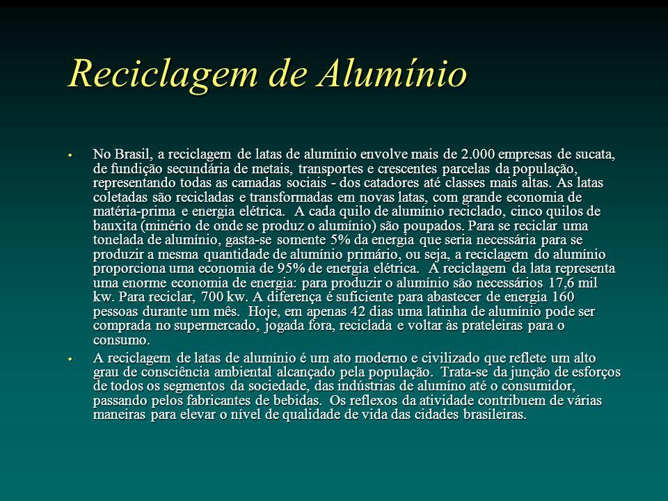 Reciclagem de Alumínio No Brasil, a reciclagem de latas de alumínio envolve mais de 2.000 empresas de sucata, de fundição secundária de metais, transportes e crescentes parcelas da população, representando todas as camadas sociais - dos catadores até classes mais altas.