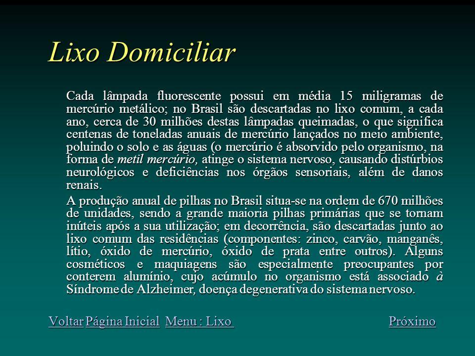 Lixo Domiciliar Cada lâmpada fluorescente possui em média 15 miligramas de mercúrio metálico; no Brasil são descartadas no lixo comum, a cada ano, cerca de 30 milhões destas lâmpadas queimadas, o que significa centenas de toneladas anuais de mercúrio lançados no meio ambiente, poluindo o solo e as águas (o mercúrio é absorvido pelo organismo, na forma de metil mercúrio, atinge o sistema nervoso, causando distúrbios neurológicos e deficiências nos órgãos sensoriais, além de danos renais.