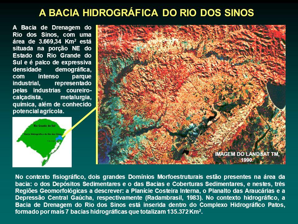 A Bacia de Drenagem do Rio dos Sinos, com uma área de 3.669,34 Km 2 está situada na porção NE do Estado do Rio Grande do Sul e é palco de expressiva densidade demográfica, com intenso parque industrial, representado pelas industrias coureiro- calçadista, metalurgia, química, além de conhecido potencial agrícola.