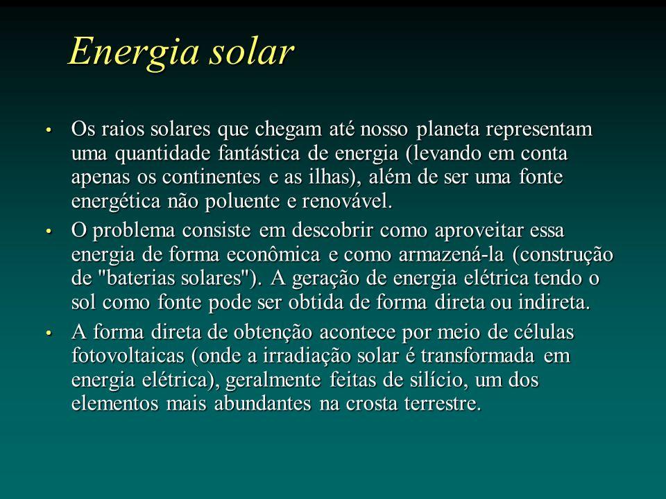 Os raios solares que chegam até nosso planeta representam uma quantidade fantástica de energia (levando em conta apenas os continentes e as ilhas), além de ser uma fonte energética não poluente e renovável.
