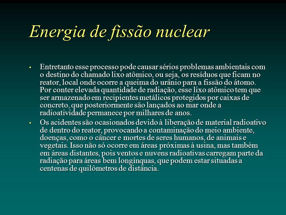 Energia de fissão nuclear Entretanto esse processo pode causar sérios problemas ambientais com o destino do chamado lixo atômico, ou seja, os resíduos que ficam no reator, local onde ocorre a queima do urânio para a fissão do átomo.