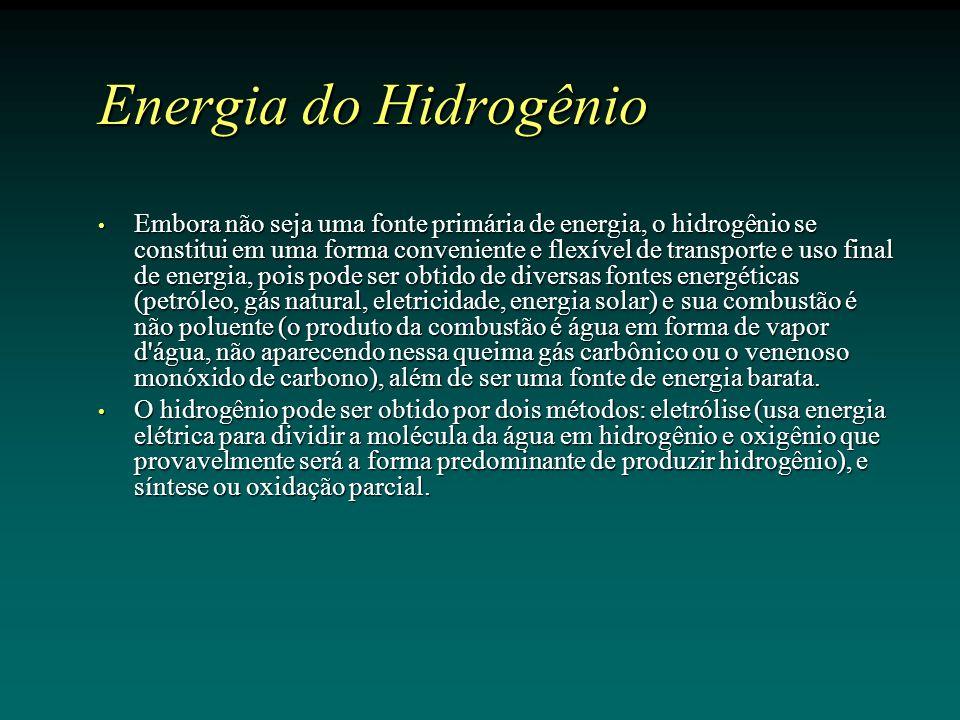 Energia do Hidrogênio Embora não seja uma fonte primária de energia, o hidrogênio se constitui em uma forma conveniente e flexível de transporte e uso final de energia, pois pode ser obtido de diversas fontes energéticas (petróleo, gás natural, eletricidade, energia solar) e sua combustão é não poluente (o produto da combustão é água em forma de vapor d água, não aparecendo nessa queima gás carbônico ou o venenoso monóxido de carbono), além de ser uma fonte de energia barata.