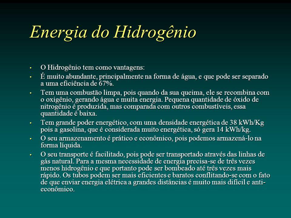 Energia do Hidrogênio O Hidrogênio tem como vantagens: O Hidrogênio tem como vantagens: É muito abundante, principalmente na forma de água, e que pode ser separado a uma eficiência de 67%.