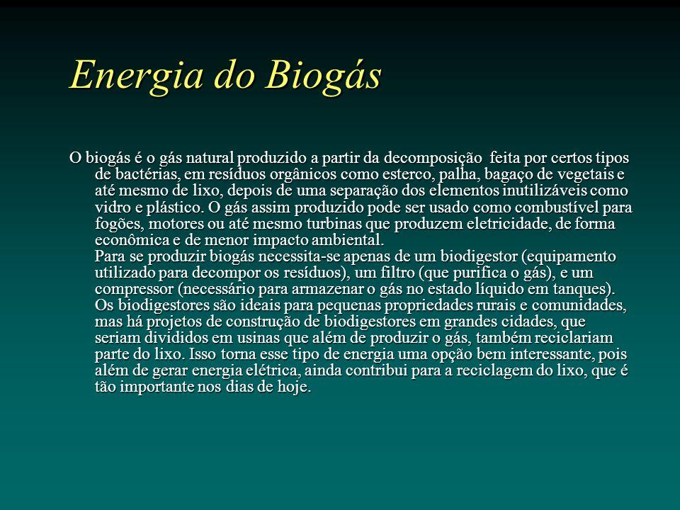O biogás é o gás natural produzido a partir da decomposição feita por certos tipos de bactérias, em resíduos orgânicos como esterco, palha, bagaço de vegetais e até mesmo de lixo, depois de uma separação dos elementos inutilizáveis como vidro e plástico.