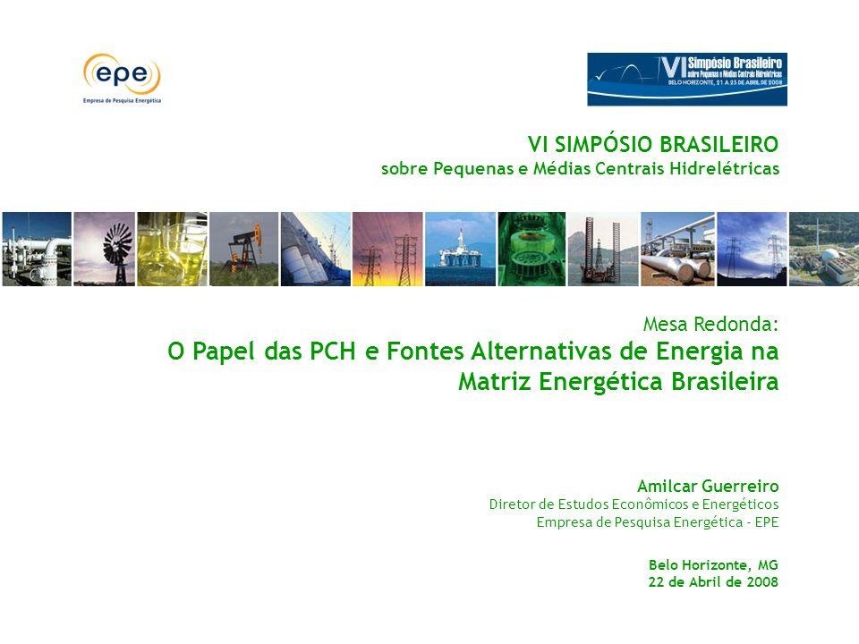 Mesa Redonda: O Papel das PCH e Fontes Alternativas de Energia na Matriz Energética Brasileira Amilcar Guerreiro Diretor de Estudos Econômicos e Energ