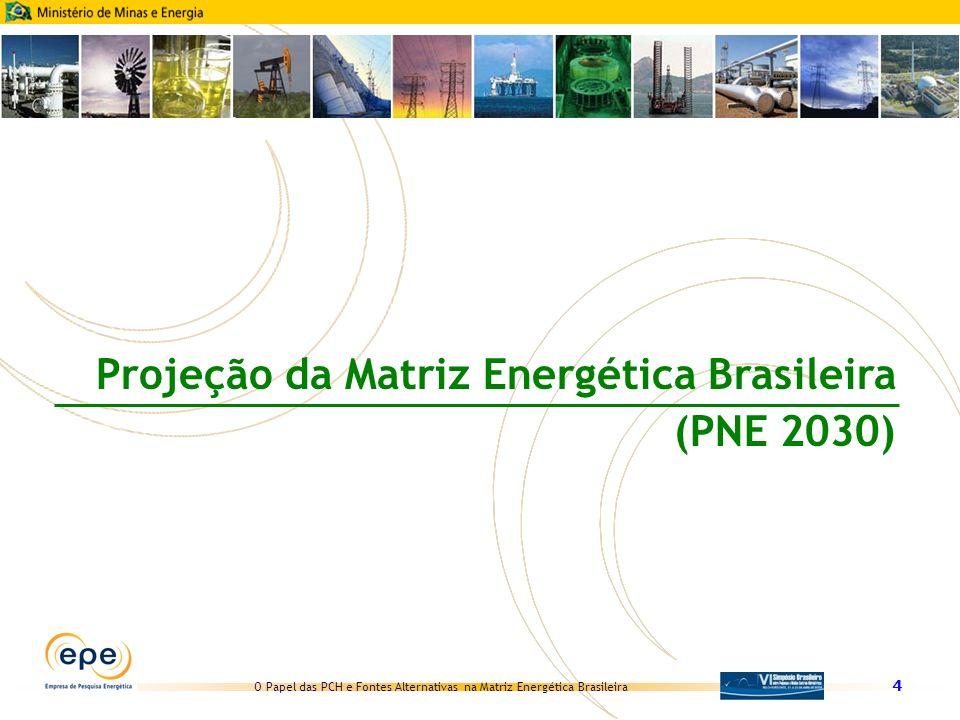 O Papel das PCH e Fontes Alternativas na Matriz Energética Brasileira 5 Conjunto de estudos que compreende análises e pesquisas prospectivas, realizadas com o objetivo formular uma estratégia para a expansão da oferta de energia no país, segundo uma perspectiva de longo prazo para o uso integrado e sustentável dos recursos disponíveis e tendo como horizonte o ano 2030 PNE 2030 O Que é Período de realização Números 49 especialistas consultados 84 notas técnicas 36 técnicos envolvidos 10 seminários temáticos Realização Relatório final disponível em