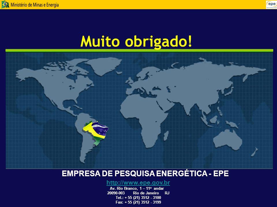 EMPRESA DE PESQUISA ENERGÉTICA - EPE Muito obrigado! http://www.epe.gov.br Av. Rio Branco, 1 – 11 o andar 20090-003 Rio de Janeiro RJ Tel.: + 55 (21)