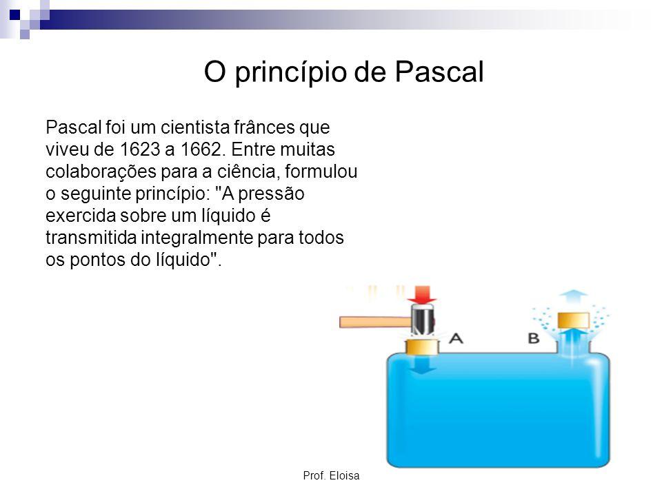 O princípio de Pascal Pascal foi um cientista frânces que viveu de 1623 a 1662. Entre muitas colaborações para a ciência, formulou o seguinte princípi