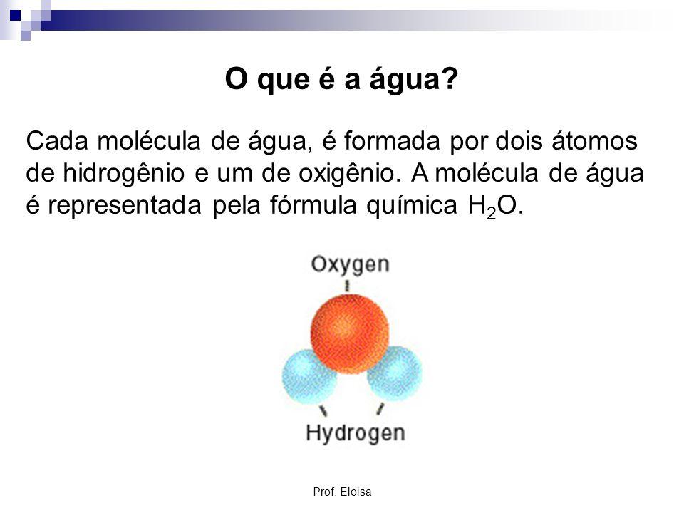O que é a água? Cada molécula de água, é formada por dois átomos de hidrogênio e um de oxigênio. A molécula de água é representada pela fórmula químic