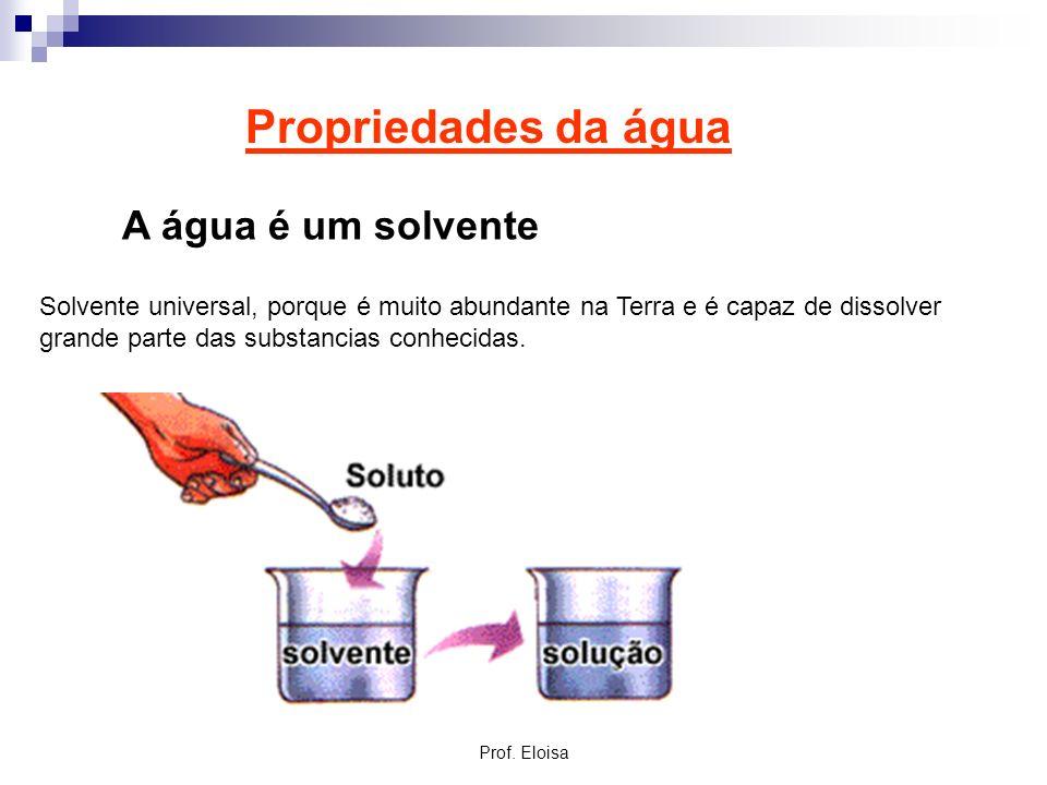 Propriedades da água A água é um solvente Solvente universal, porque é muito abundante na Terra e é capaz de dissolver grande parte das substancias co