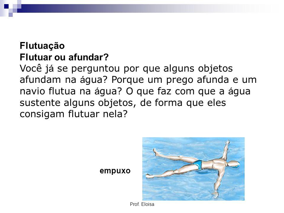 Flutuação Flutuar ou afundar? Você j á se perguntou por que alguns objetos afundam na á gua? Porque um prego afunda e um navio flutua na á gua? O que