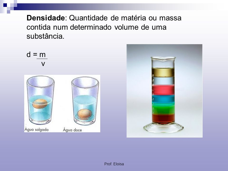 Densidade: Quantidade de matéria ou massa contida num determinado volume de uma substância. d = m v Prof. Eloisa