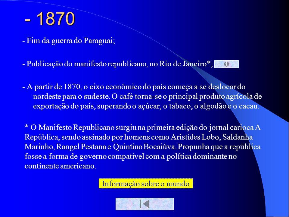 - 1870 - Fim da guerra do Paraguai; - Publicação do manifesto republicano, no Rio de Janeiro*; - A partir de 1870, o eixo econômico do país começa a s
