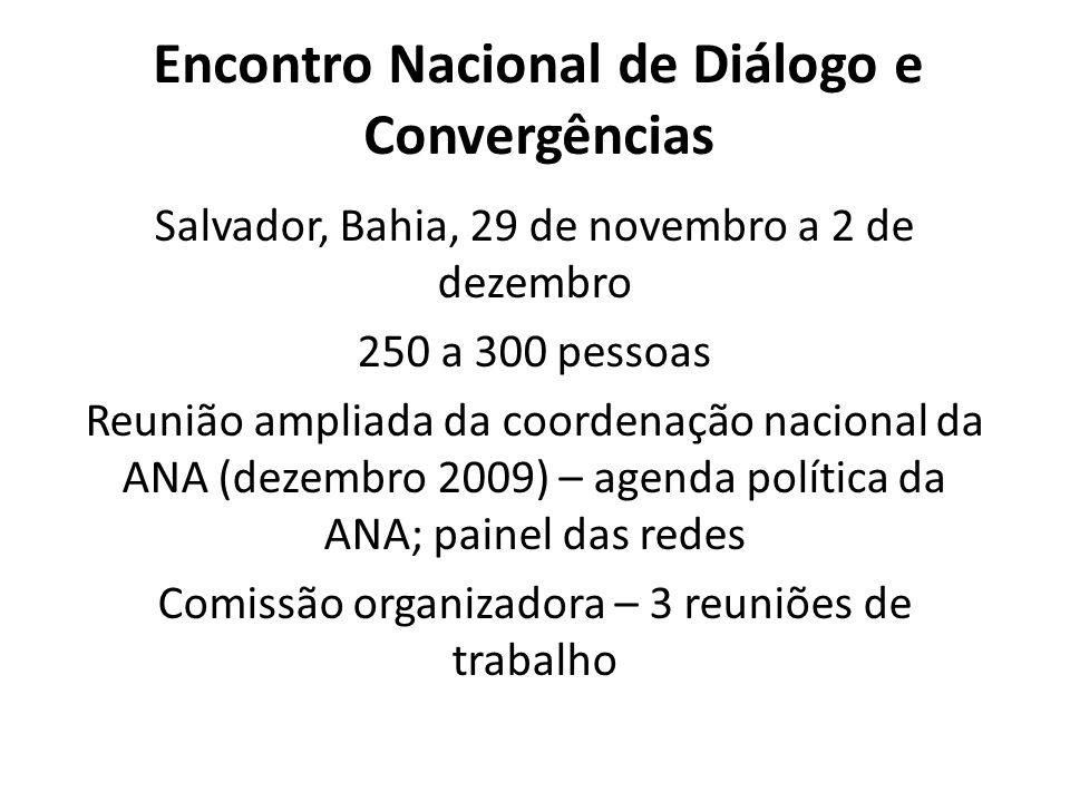 Encontro Nacional de Diálogo e Convergências Salvador, Bahia, 29 de novembro a 2 de dezembro 250 a 300 pessoas Reunião ampliada da coordenação nacional da ANA (dezembro 2009) – agenda política da ANA; painel das redes Comissão organizadora – 3 reuniões de trabalho