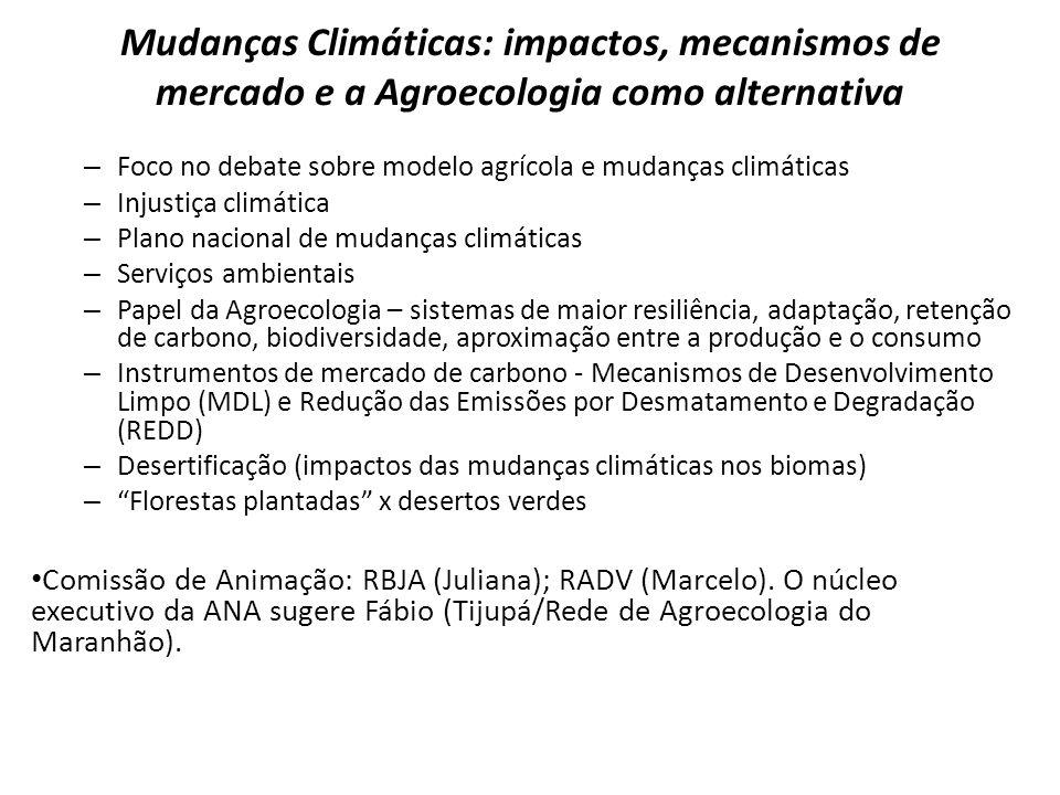 Mudanças Climáticas: impactos, mecanismos de mercado e a Agroecologia como alternativa – Foco no debate sobre modelo agrícola e mudanças climáticas –