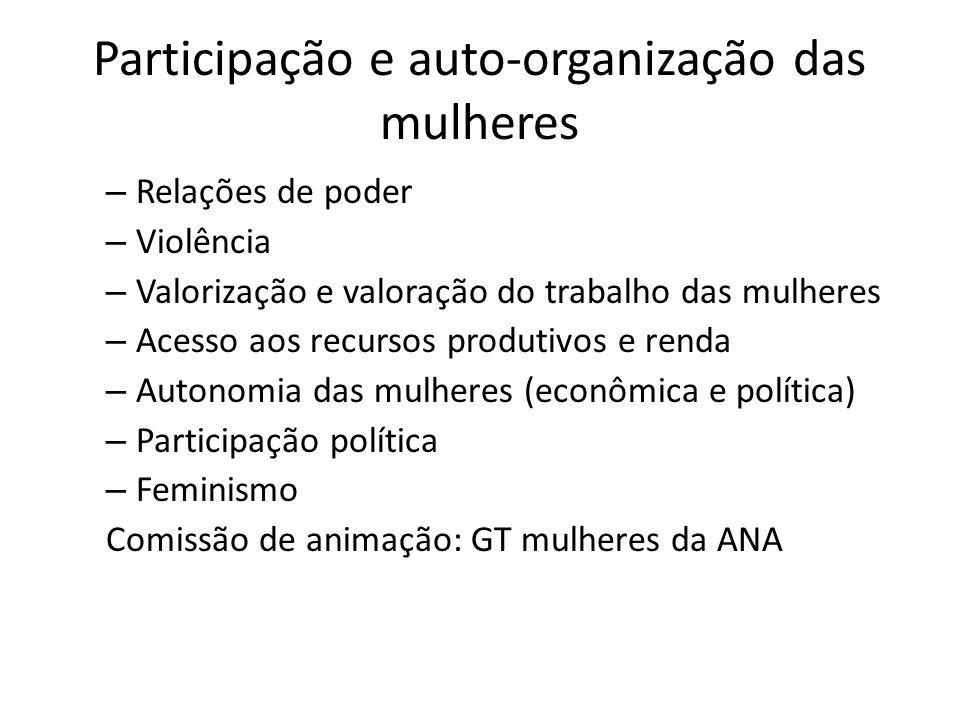 Participação e auto-organização das mulheres – Relações de poder – Violência – Valorização e valoração do trabalho das mulheres – Acesso aos recursos