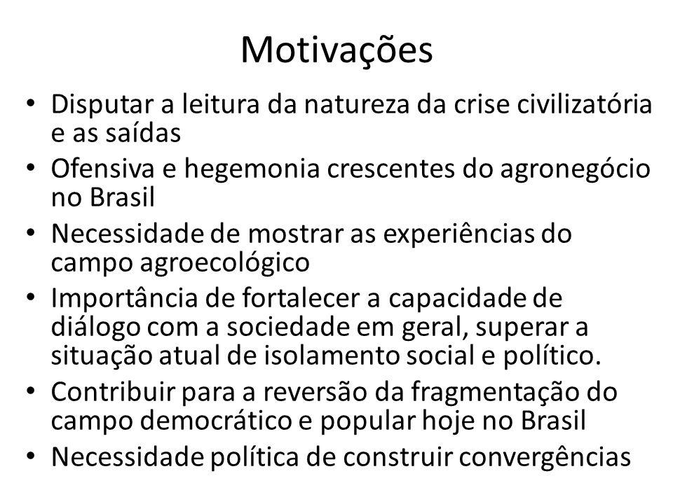 Motivações Disputar a leitura da natureza da crise civilizatória e as saídas Ofensiva e hegemonia crescentes do agronegócio no Brasil Necessidade de m