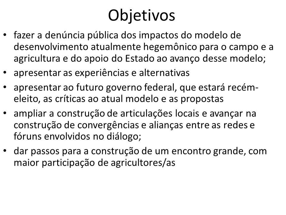 Objetivos fazer a denúncia pública dos impactos do modelo de desenvolvimento atualmente hegemônico para o campo e a agricultura e do apoio do Estado a
