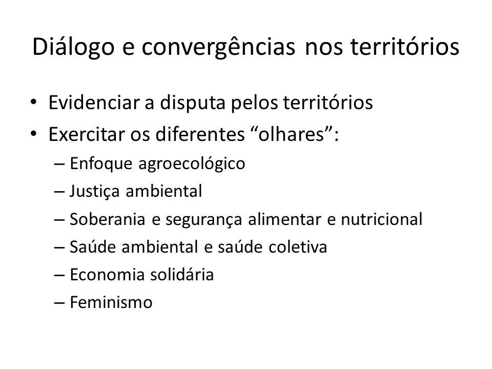 Diálogo e convergências nos territórios Evidenciar a disputa pelos territórios Exercitar os diferentes olhares: – Enfoque agroecológico – Justiça ambi