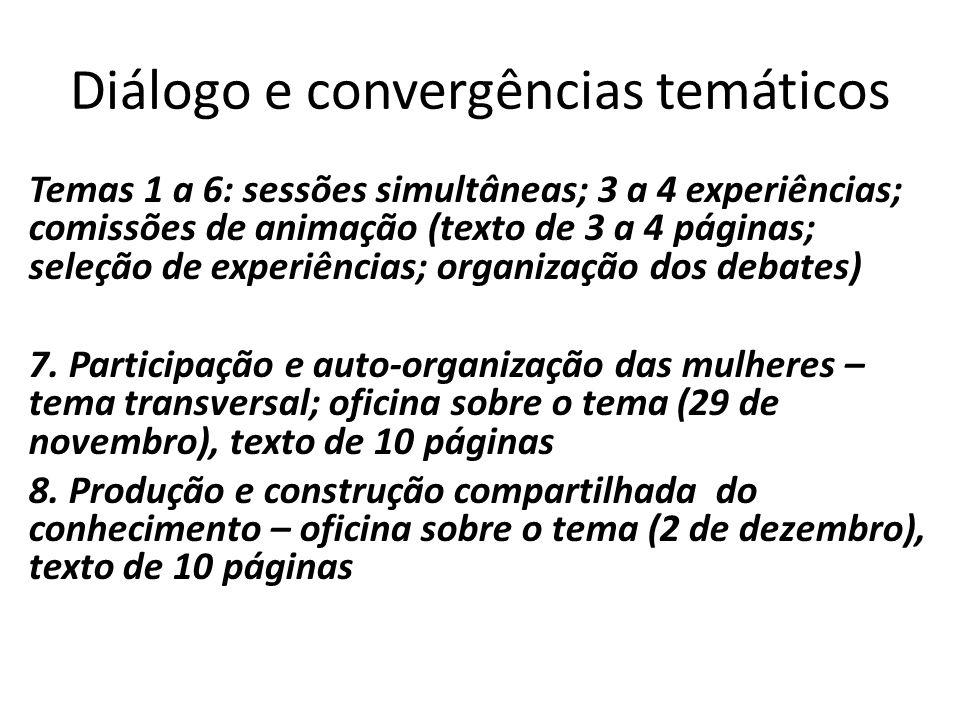 Diálogo e convergências temáticos Temas 1 a 6: sessões simultâneas; 3 a 4 experiências; comissões de animação (texto de 3 a 4 páginas; seleção de expe