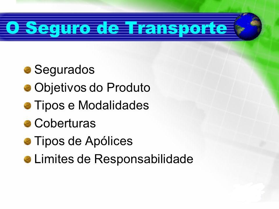 O Seguro de Transporte Segurados Objetivos do Produto Tipos e Modalidades Coberturas Tipos de Apólices Limites de Responsabilidade