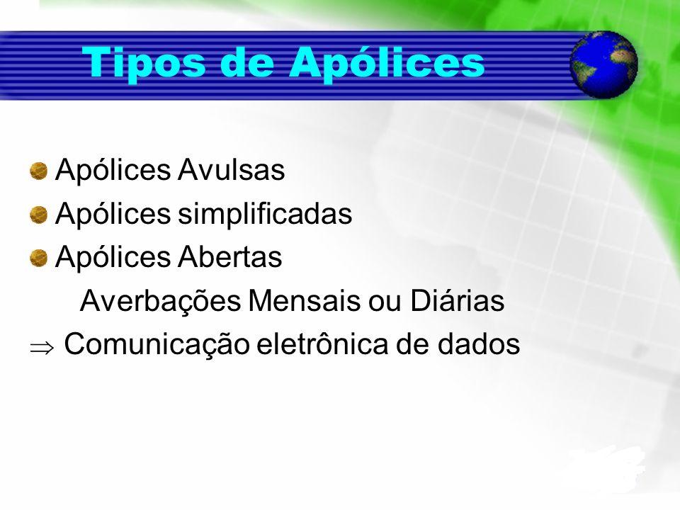 Tipos de Apólices Apólices Avulsas Apólices simplificadas Apólices Abertas Averbações Mensais ou Diárias Comunicação eletrônica de dados