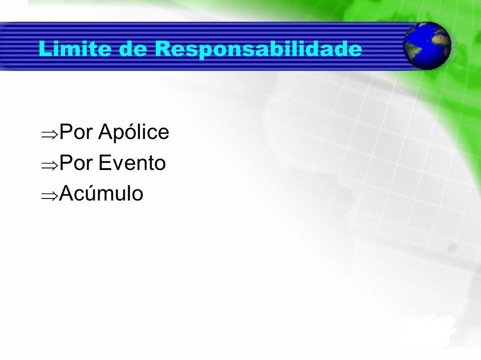 Limite de Responsabilidade Por Apólice Por Evento Acúmulo