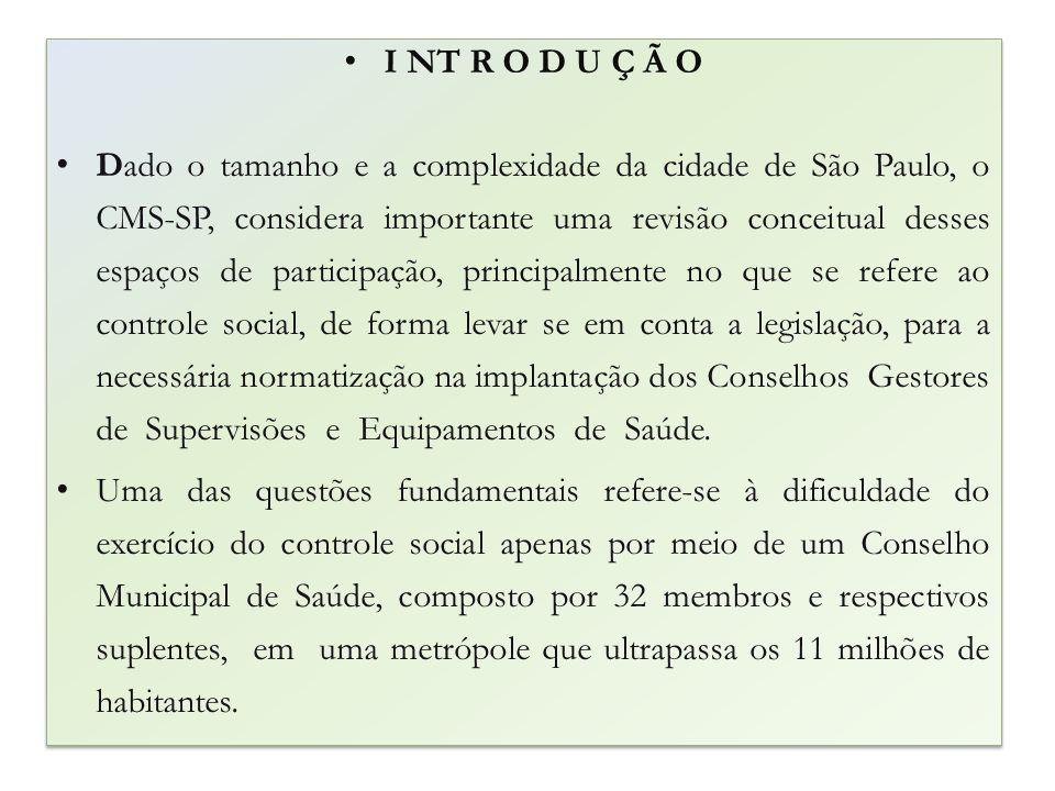 I NT R O D U Ç Ã O Dado o tamanho e a complexidade da cidade de São Paulo, o CMS-SP, considera importante uma revisão conceitual desses espaços de par