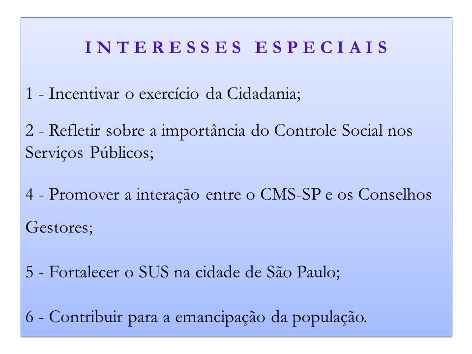 I N T E R E S S E S E S P E C I A I S 1 - Incentivar o exercício da Cidadania; 2 - Refletir sobre a importância do Controle Social nos Serviços Públic