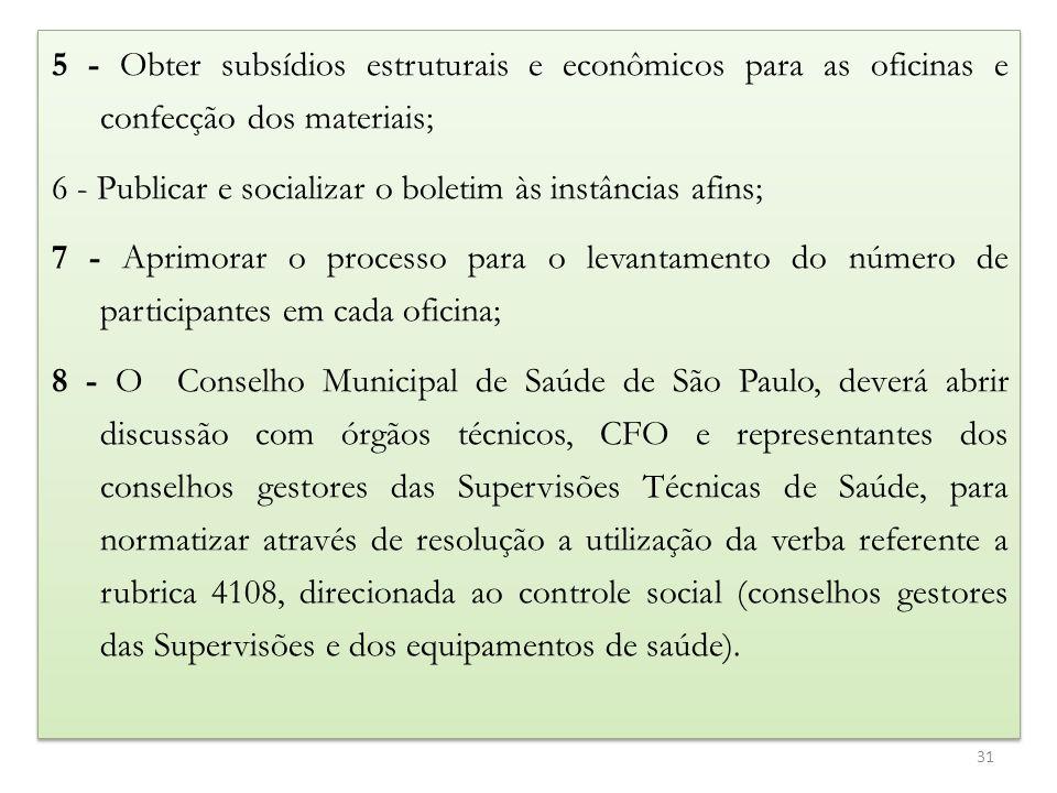 5 - Obter subsídios estruturais e econômicos para as oficinas e confecção dos materiais; 6 - Publicar e socializar o boletim às instâncias afins; 7 -