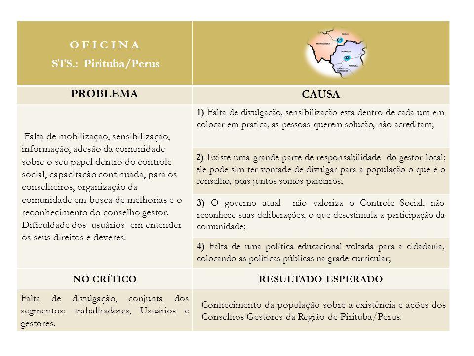 O F I C I N A STS.: Pirituba/Perus PROBLEMA CAUSA Falta de mobilização, sensibilização, informação, adesão da comunidade sobre o seu papel dentro do controle social, capacitação continuada, para os conselheiros, organização da comunidade em busca de melhorias e o reconhecimento do conselho gestor.
