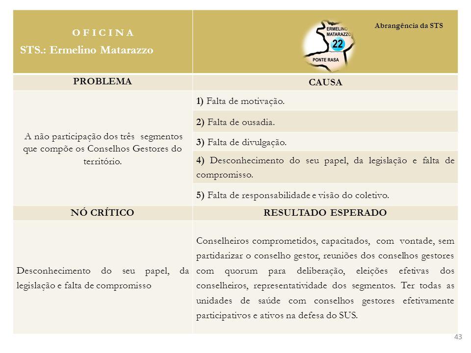 43 O F I C I N A STS.: Ermelino Matarazzo PROBLEMA CAUSA A não participação dos três segmentos que compõe os Conselhos Gestores do território. 1) Falt