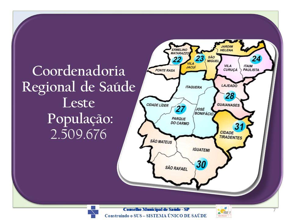 7 Construindo o SUS – SISTEMA ÚNICO DE SAÚDE Conselho Municipal de Saúde - SP Coordenadoria Regional de Saúde Leste População: 2.509.676 7 Construindo