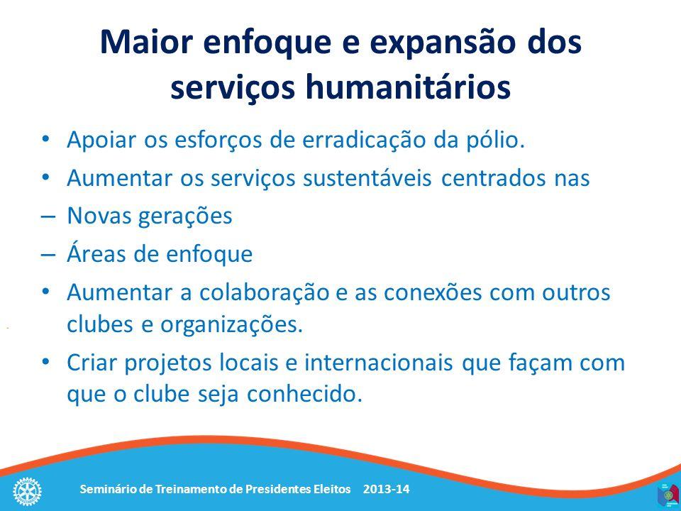 Seminário de Treinamento de Presidentes Eleitos 2013-14 Maior enfoque e expansão dos serviços humanitários Apoiar os esforços de erradicação da pólio.