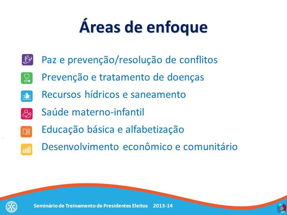Seminário de Treinamento de Presidentes Eleitos 2013-14 Paz e prevenção/resolução de conflitos Prevenção e tratamento de doenças Recursos hídricos e s