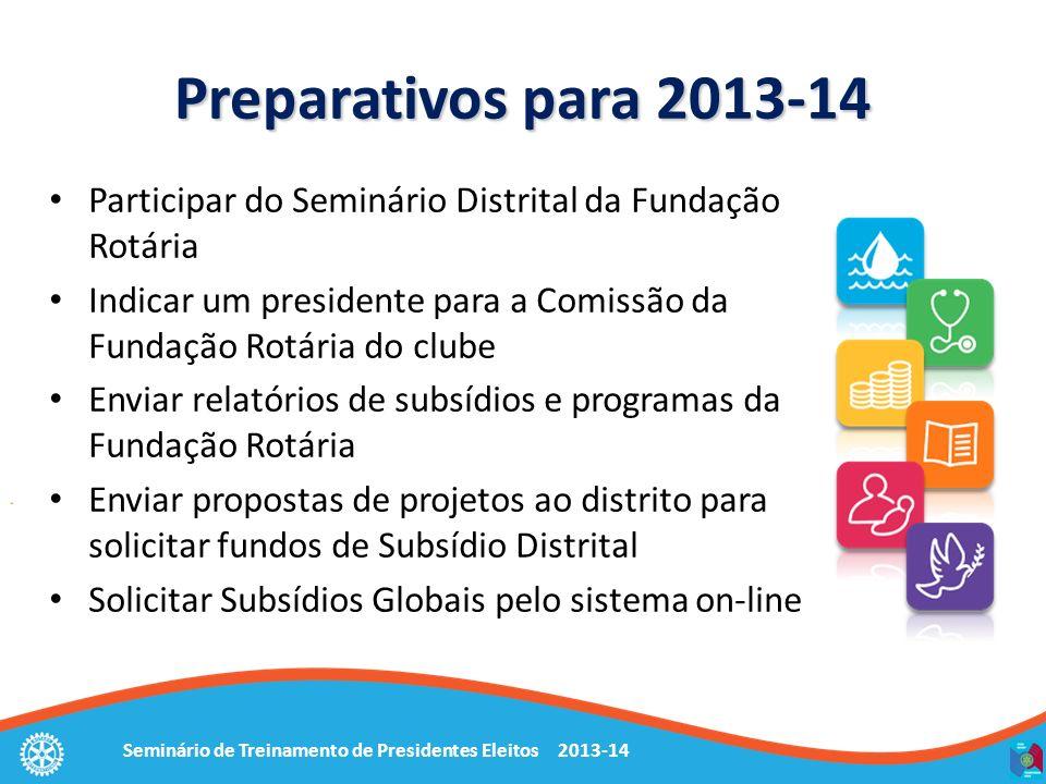 Seminário de Treinamento de Presidentes Eleitos 2013-14 Preparativos para 2013-14 Participar do Seminário Distrital da Fundação Rotária Indicar um pre