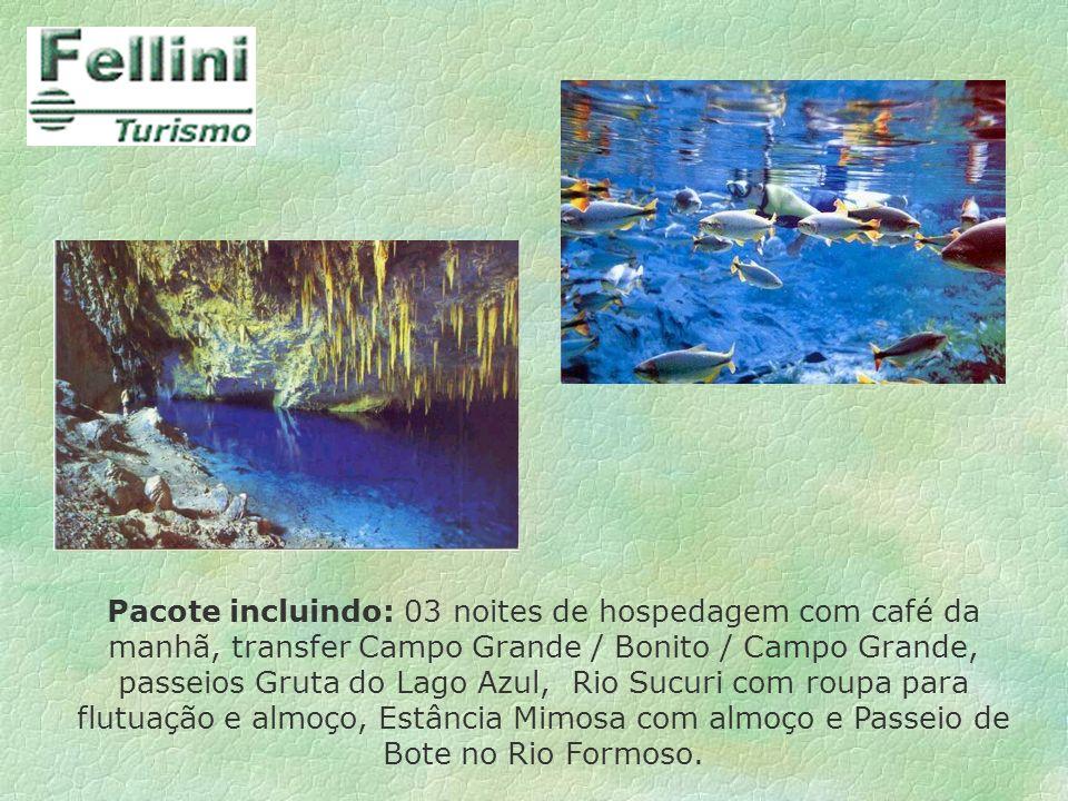 Pacote incluindo: 03 noites de hospedagem com café da manhã, transfer Campo Grande / Bonito / Campo Grande, passeios Gruta do Lago Azul, Rio Sucuri co