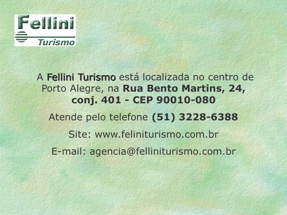 Fellini Turismo A Fellini Turismo está localizada no centro de Porto Alegre, na Rua Bento Martins, 24, conj. 401 - CEP 90010-080 Atende pelo telefone