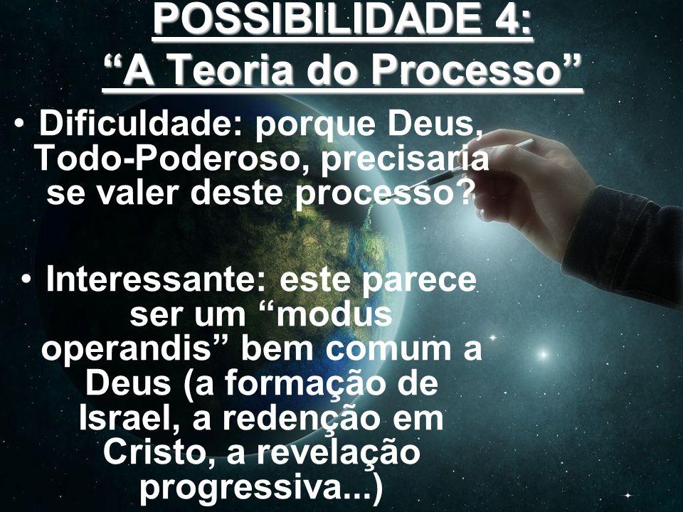 POSSIBILIDADE 4: A Teoria do Processo Dificuldade: porque Deus, Todo-Poderoso, precisaria se valer deste processo? Interessante: este parece ser um mo