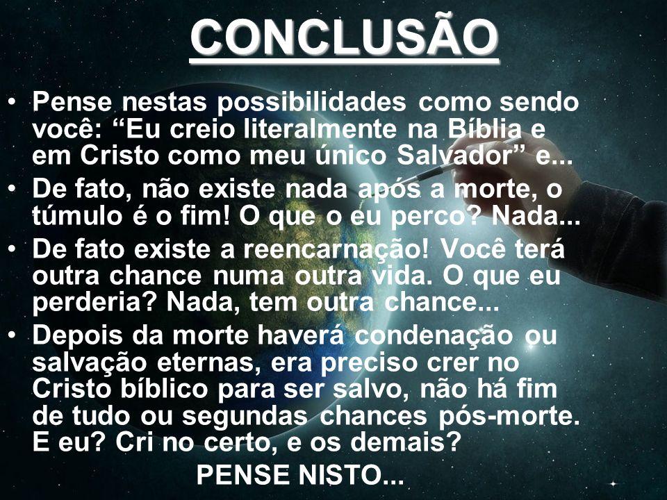 CONCLUSÃO Pense nestas possibilidades como sendo você: Eu creio literalmente na Bíblia e em Cristo como meu único Salvador e... De fato, não existe na