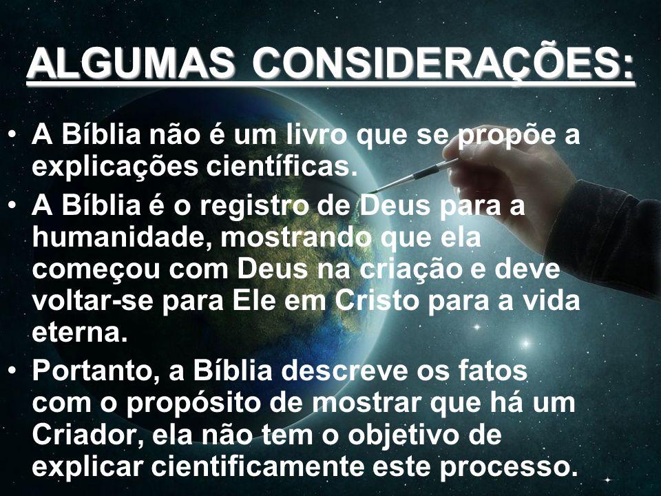 POSSIBILIDADES SOBRE A CRIAÇÃO: Enfatizo que são POSSIBILIDADES (teorias) sobre a Criação por Deus, já que o propósito da Bíblia não é uma explicação científica!