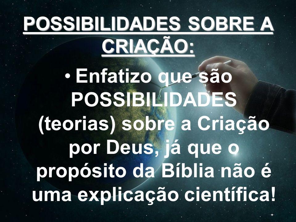 POSSIBILIDADES SOBRE A CRIAÇÃO: Enfatizo que são POSSIBILIDADES (teorias) sobre a Criação por Deus, já que o propósito da Bíblia não é uma explicação