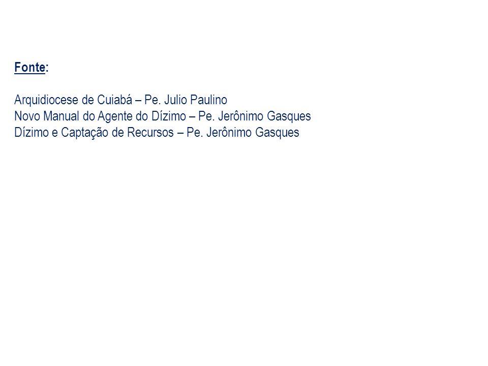 Fonte: Arquidiocese de Cuiabá – Pe. Julio Paulino Novo Manual do Agente do Dízimo – Pe. Jerônimo Gasques Dízimo e Captação de Recursos – Pe. Jerônimo