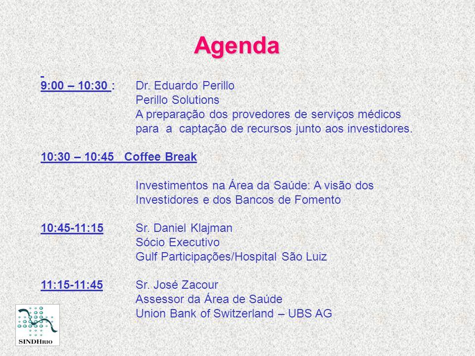 Agenda 9:00 – 10:30 :Dr. Eduardo Perillo Perillo Solutions A preparação dos provedores de serviços médicos para a captação de recursos junto aos inves