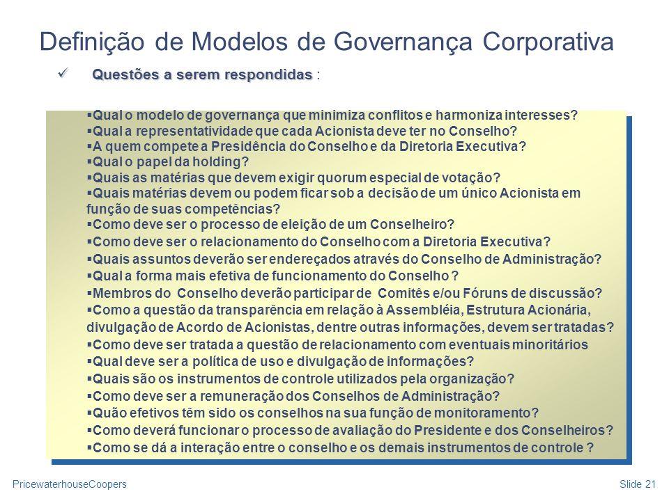PricewaterhouseCoopersSlide 21 Qual o modelo de governança que minimiza conflitos e harmoniza interesses? Qual a representatividade que cada Acionista