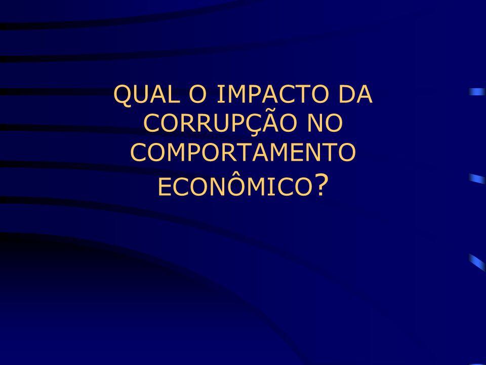 QUAL O IMPACTO DA CORRUPÇÃO NO COMPORTAMENTO ECONÔMICO ?